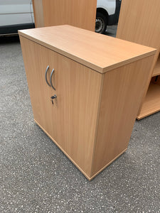 Low Beech Wooden Office Cupboard - Flogit2us.com