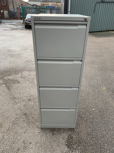 Bisley 4 Drawer Filing Cabinet - Goose Grey - Flogit2us.com