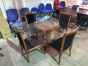 Stunning Brazilian Glass Dining Table & Chair Set - Flogit2us.com