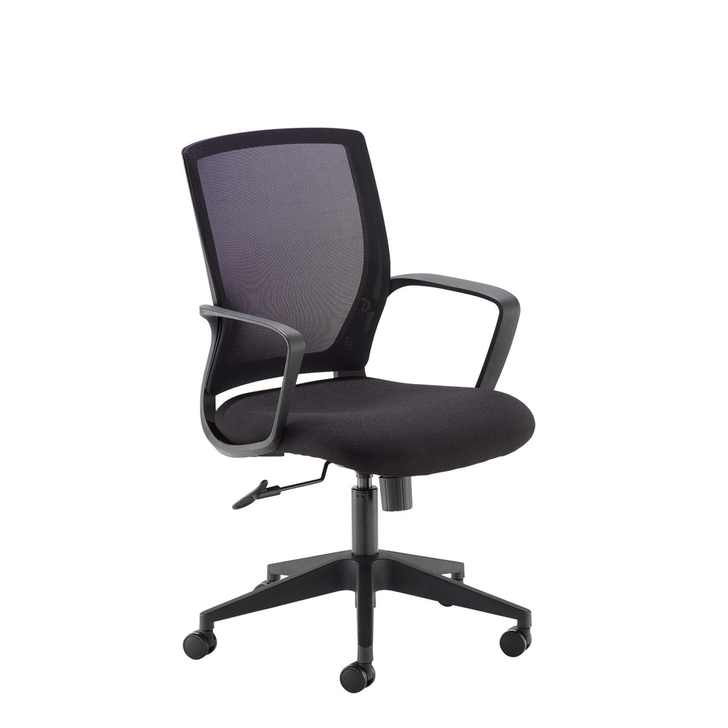 Jonas Black Mesh Back Operator Chair With Black Fabric Seat and Black Base