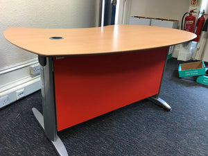 1600mm Beech Curved Reception Style Desk - Flogit2us.com