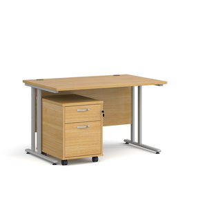 Maestro 25 Straight Desk & Under Desk Pedestal Bundle