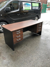 Load image into Gallery viewer, Walnut Executive Desk With Built In Drawers - Flogit2us.com