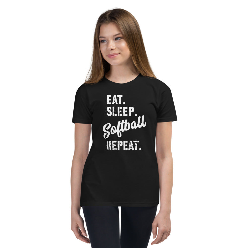 Youth Eat Sleep Softball Tee