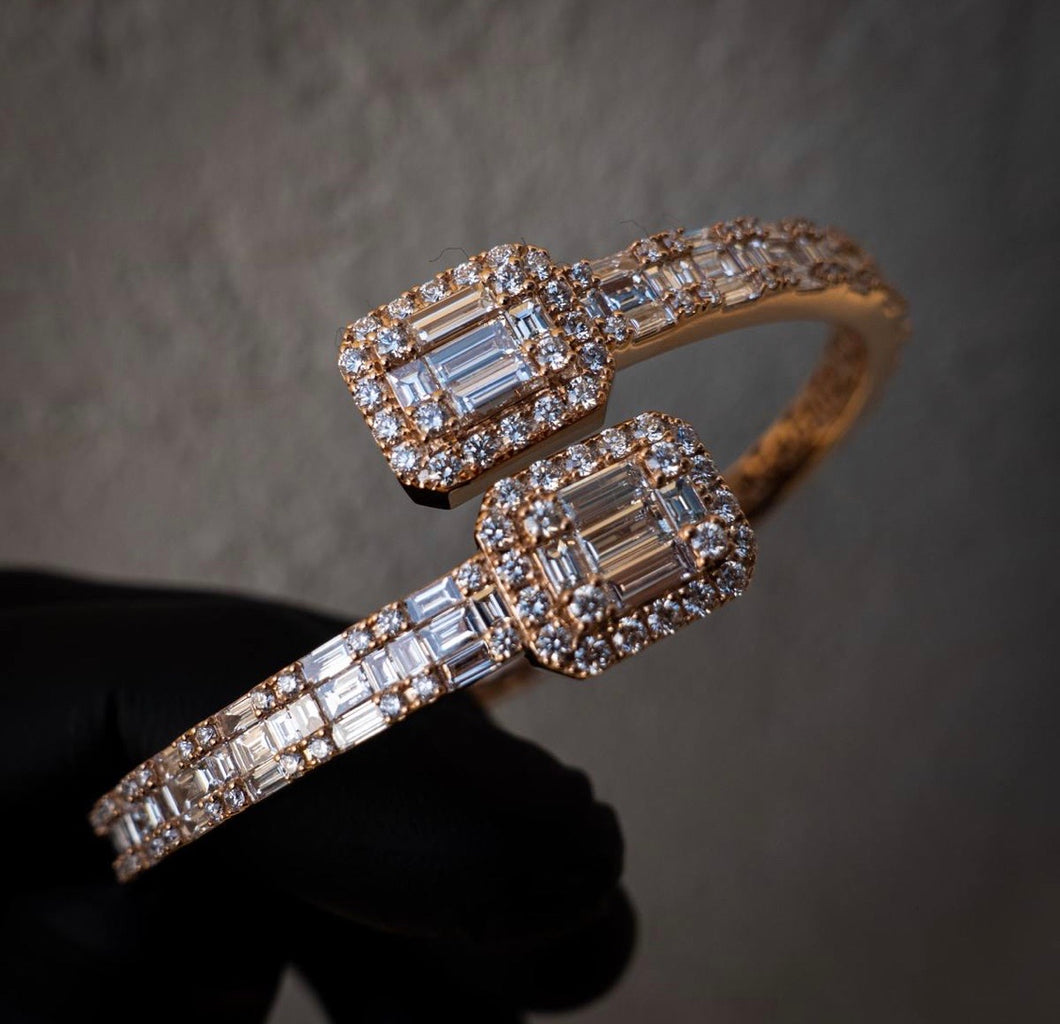 Rose Gold Baguette CZ Diamond Bangle Gold Plated (Pre-Order) Unisex