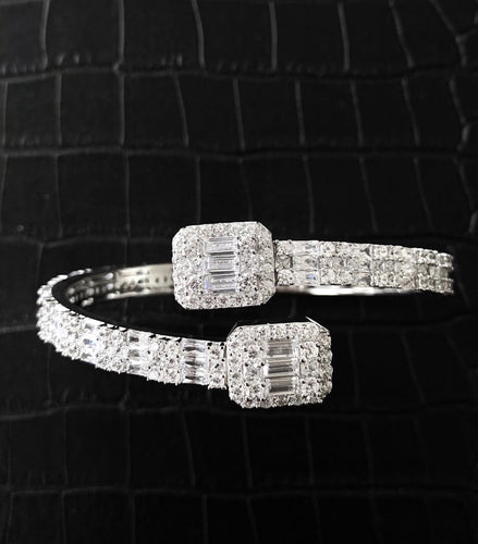 Silver Baguette Cz Diamond Bangle Gold Plated (Pre-Order) Unisex