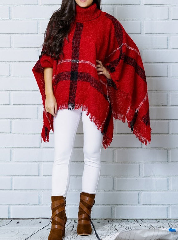 Hands Free Poncho -Red