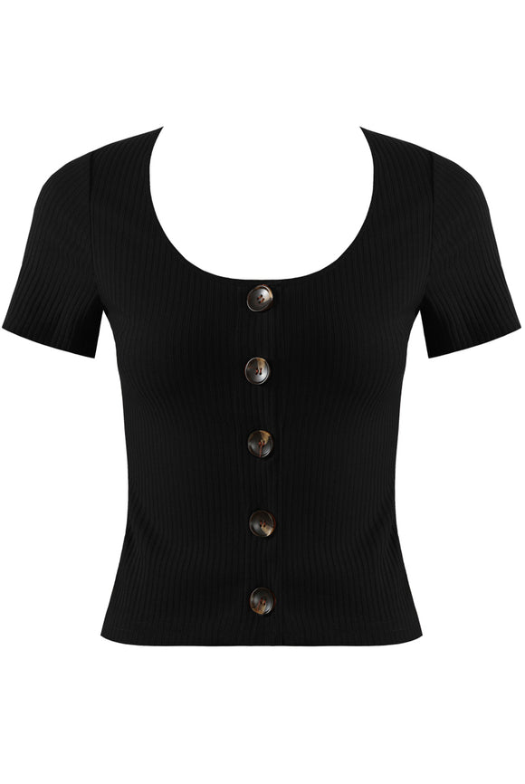 Ribbed Crop-Black