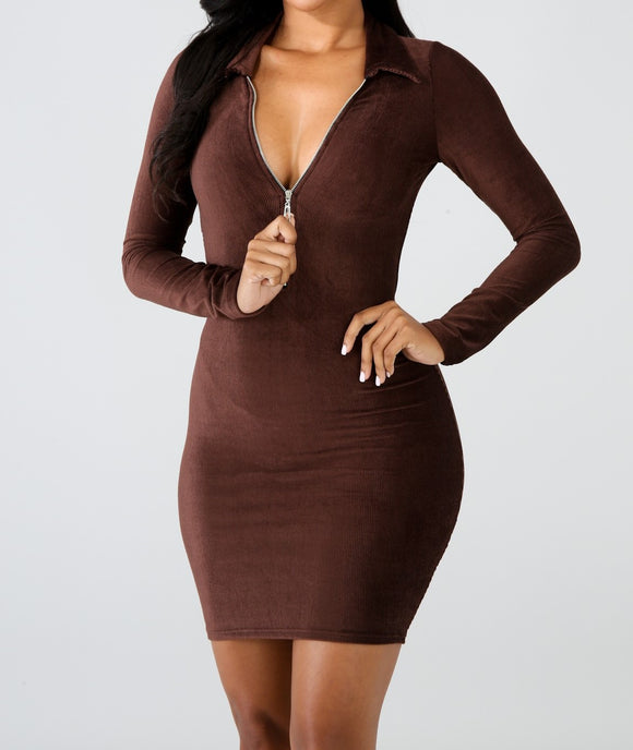 Drive Off Dress-Brown