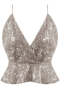 Sequin Crop Top-Silver