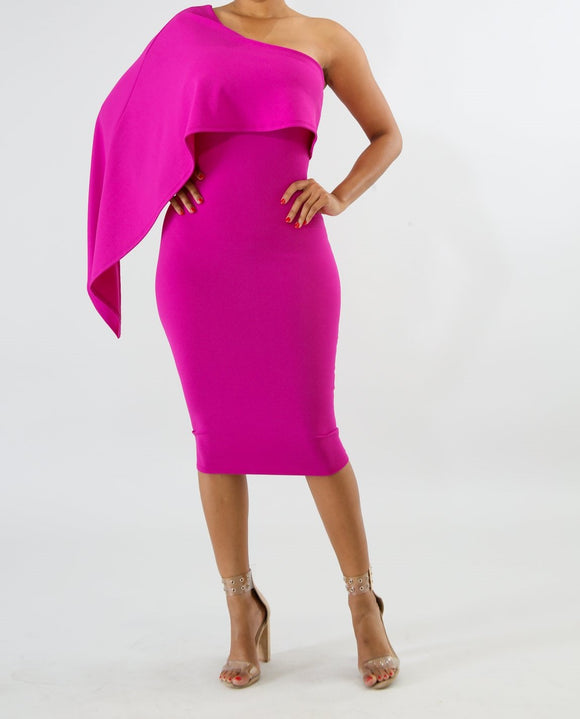 Swinging Bodycon Dress-Fuschia