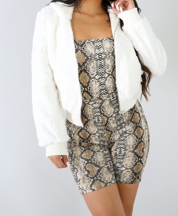 Fur Bomber-White