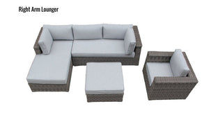 The Glacier - 4pc Sunbrella® Outdoor Sofa Set - Cozy Corner Patios in Grey