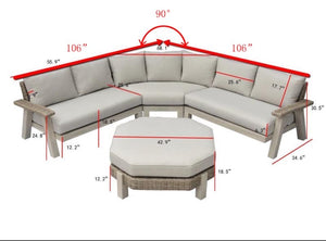 The Sand Dunes - 7 Seater Sunbrella® Outdoor Sectional Sofa Set - (Eagle Series) - Cozy Corner Patios