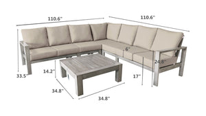 The Canyonlands - 7 Seater Sunbrella® Outdoor Sectional Sofa Set - (Eagle Series) - Cozy Corner Patios