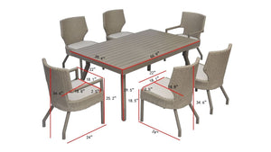The Everglades - 6 Seater Sunbrella® Outdoor Dining Set - (Eagle Series) - Cozy Corner Patios