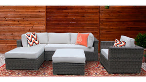 The Glacier - 4pc Sunbrella® Outdoor Sofa Set - Cozy Corner Patios in Oyster
