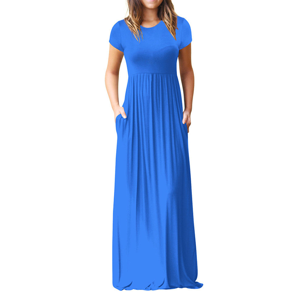 Plus Size Dress - O Neck Casual Pockets Short Sleeve Floor Length