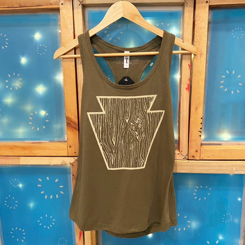 Woodgrain Keystone Ladies Tank Top