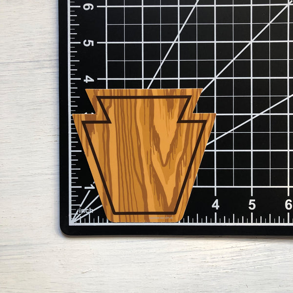 Woodgrain Keystone Vinyl Sticker
