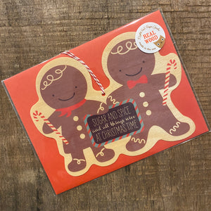 Gingerbread Wooden Christmas Ornament Card