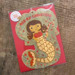 Mermaid Wooden Christmas Ornament Card