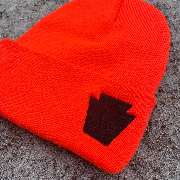 Safety Orange Keystone Embroidered Cuffed Beanie