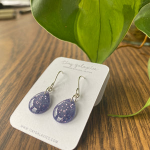 Glitter Cast Resin Drop Earrings