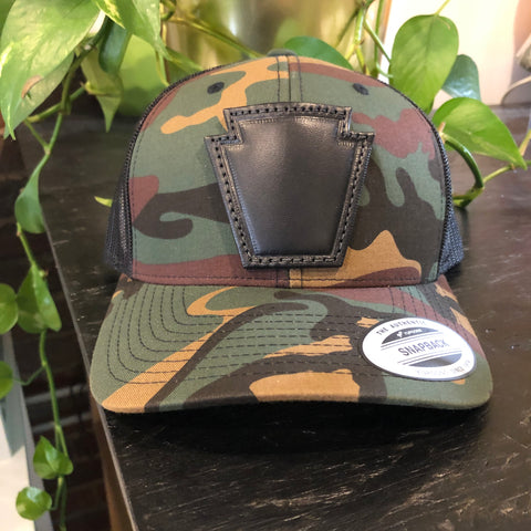 Leather Keystone Camo Trucker Hat
