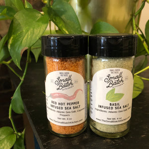 Red Hot Pepper or Basil Infused Sea Salt