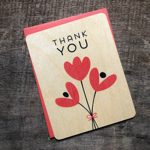 Tulip Wood Thank You Card
