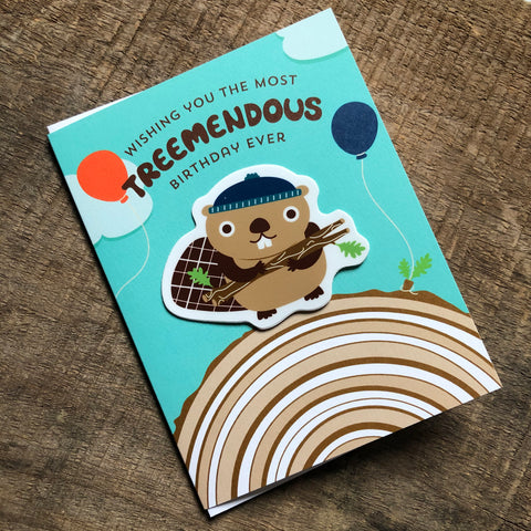 Tree-mendous Beaver Sticker Birthday Card