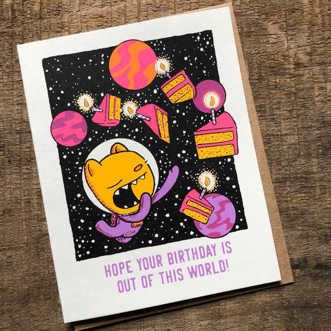 Space Cake Birthday Card