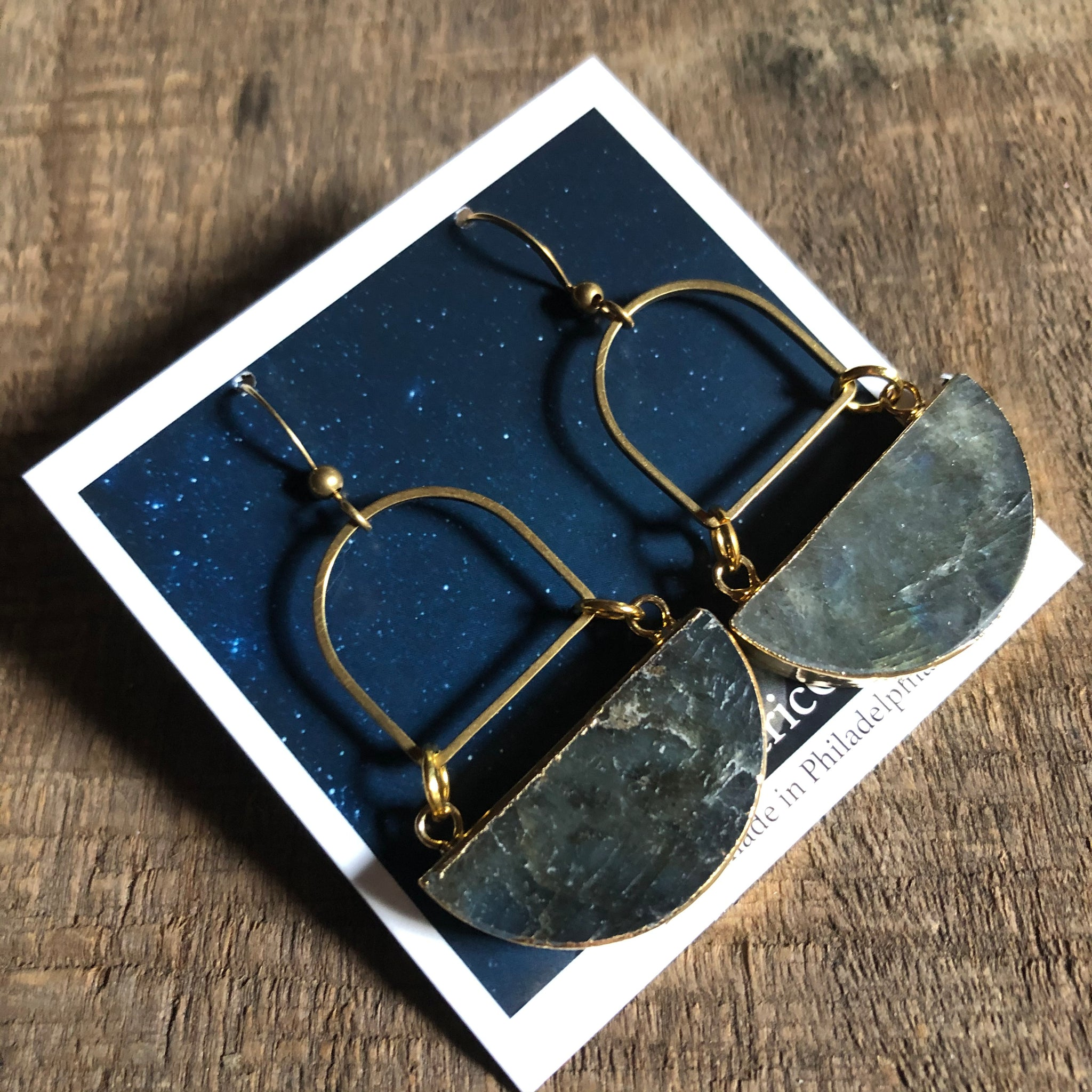 Gem Moon Earrings