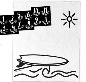 surfer backdrop with the 12 black and white milestone cards laid out