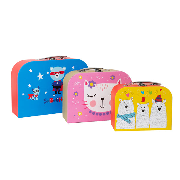 Set of three paper suitcases, largest blue and orange with cartoon superheros, medium is pink with cartoon cat and smallest is yellow with cartoon bears