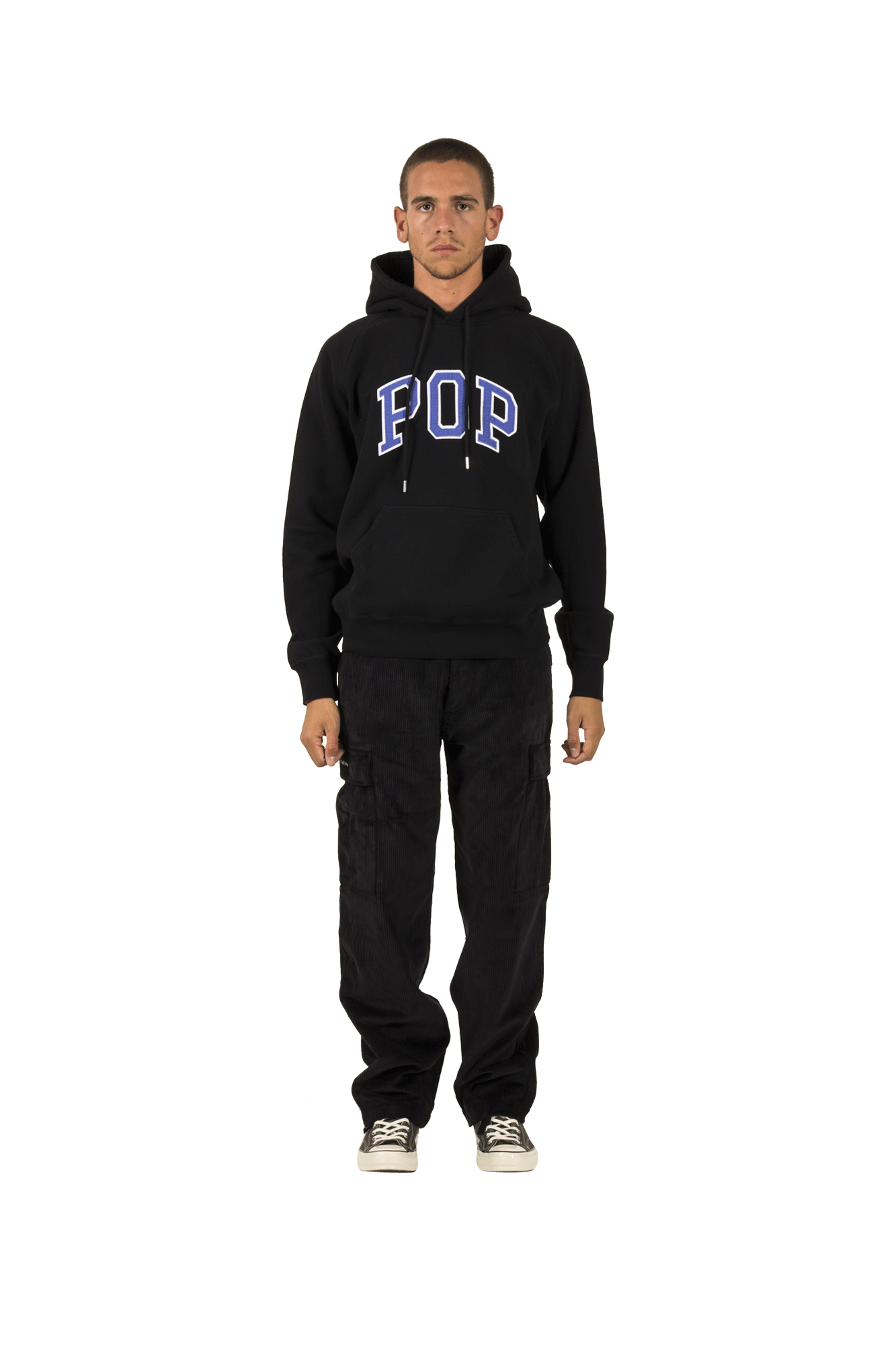 Pop Trading Company Felpe Arch Hooded Sweat Nero Nero 01-002#000#BLK#S - One Block Down