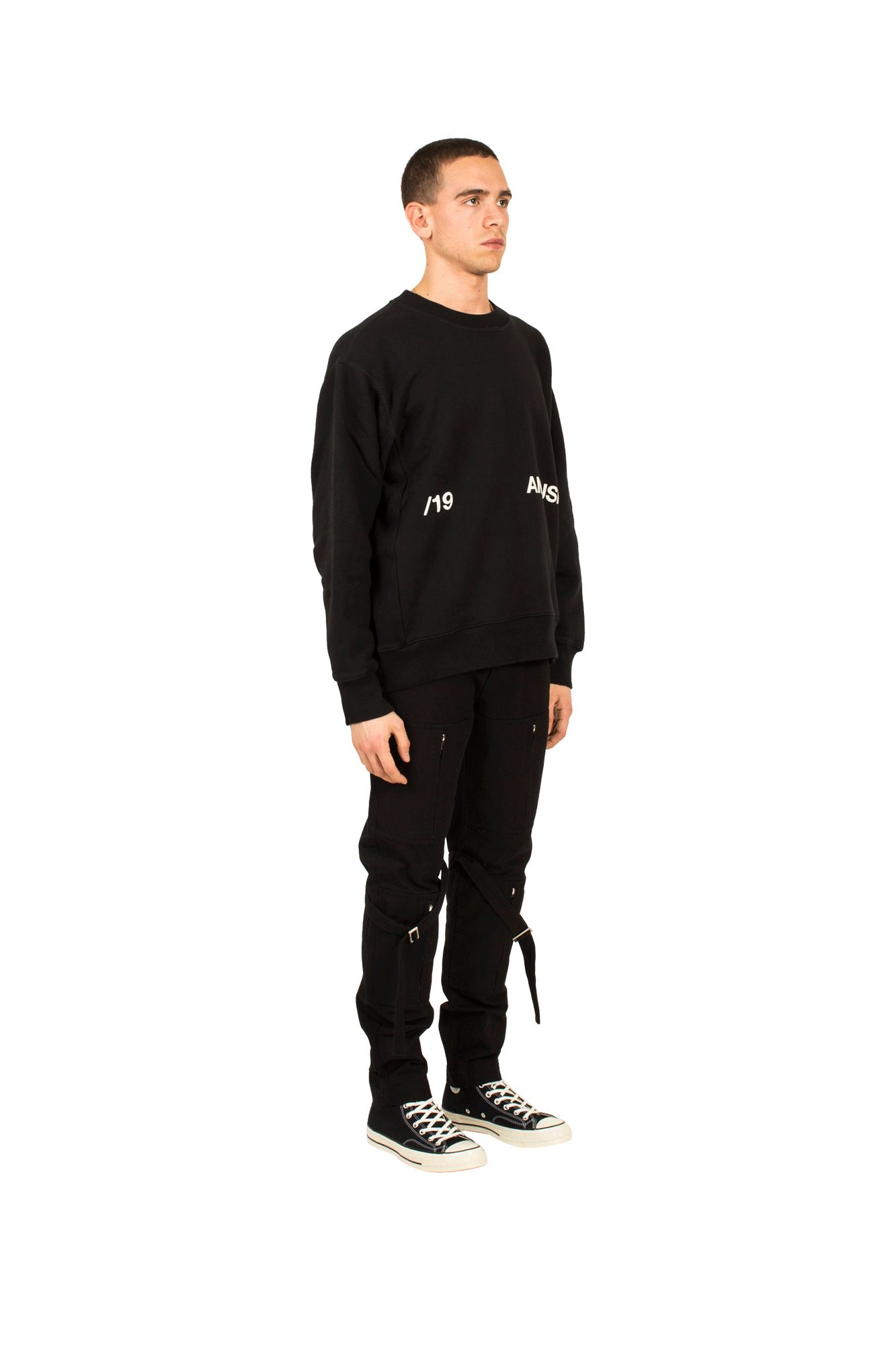 Ambush Camicie AW19 Crewneck Sweat Shirt Nero 12111841#000#BLK#1 - One Block Down