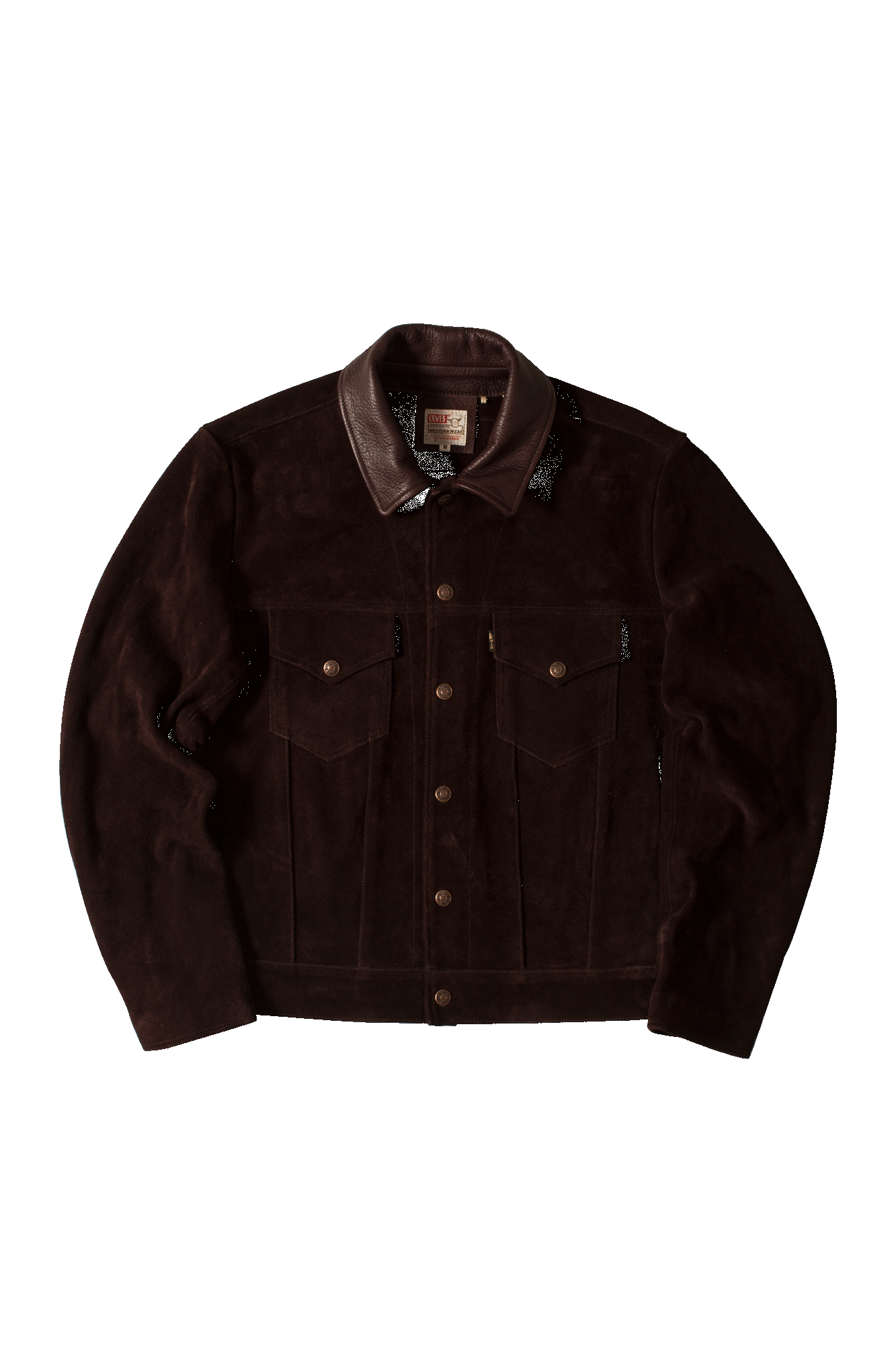 1960s Suede Trucker Chocolate Jacket Marrone