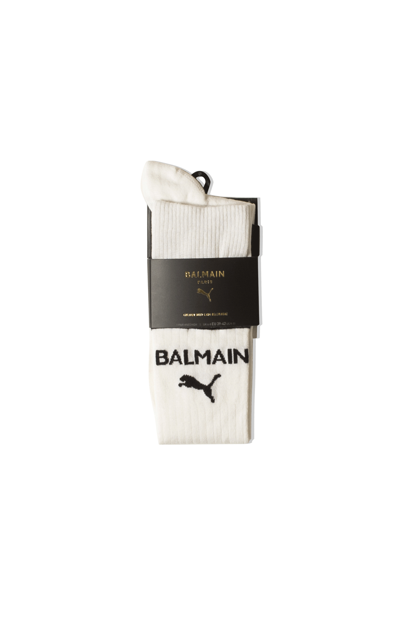 Kneehigh Socks Heritage x Balmain Bianco