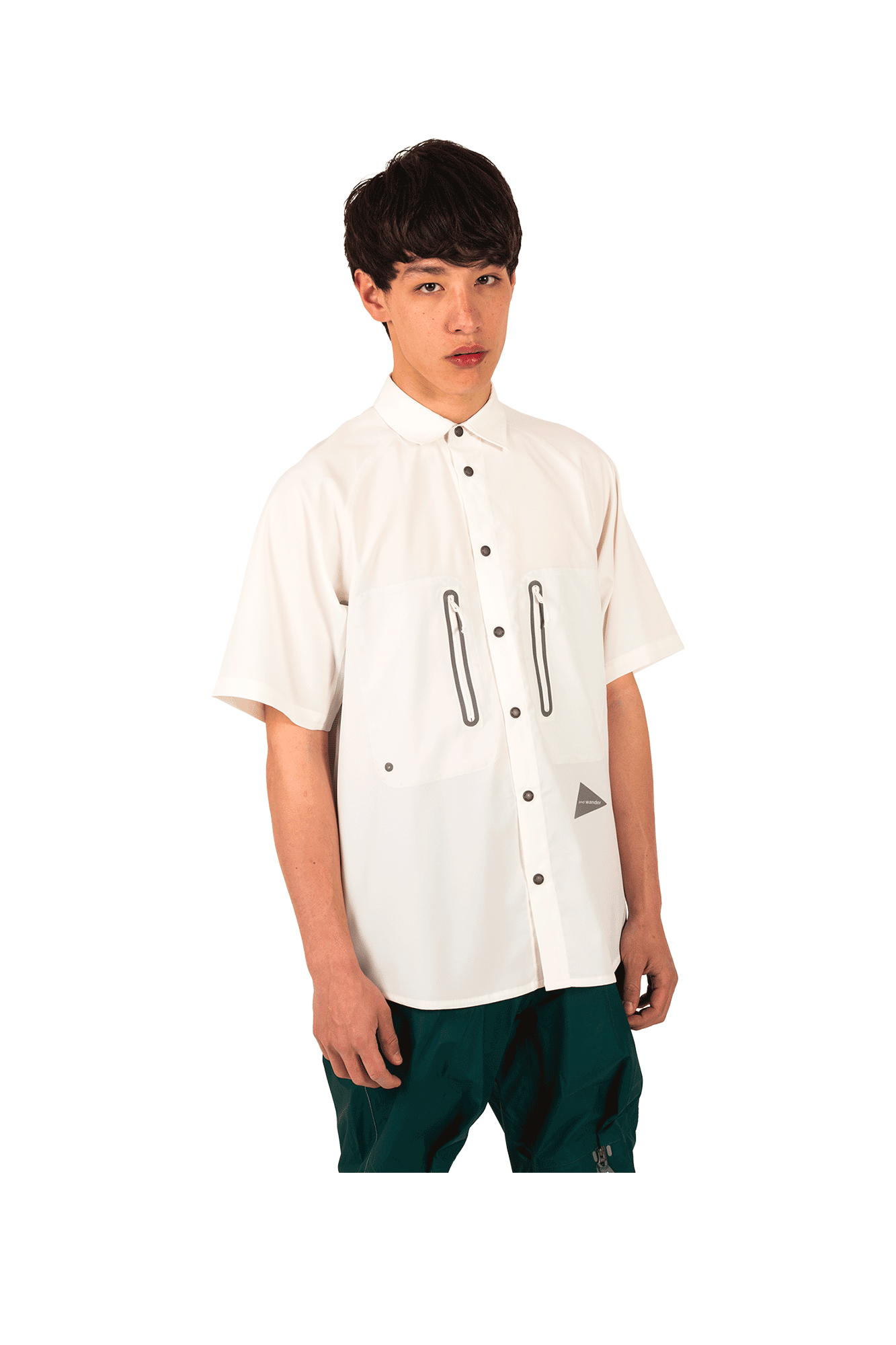 And Wander Camicie Tech S/SL Shirt Bianco AW91-FT789#000#WHT#4 - One Block Down