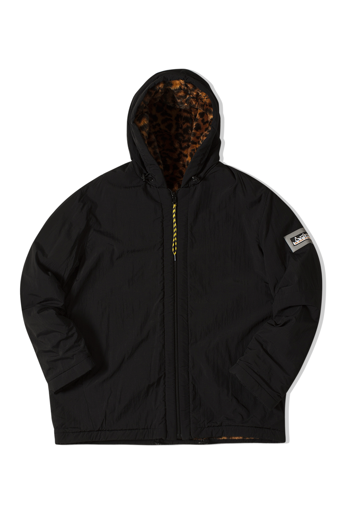 REVERSIBLE FURRY LEOPARD PARKA Marrone