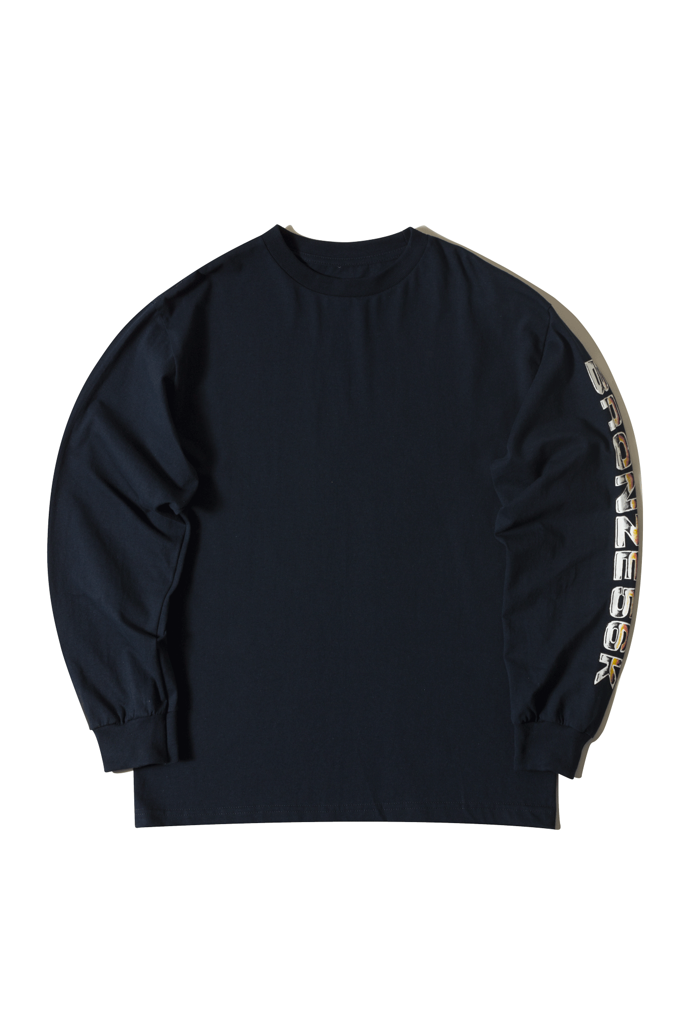 Bronze 56K Magliette a manica lunga LS T-shirt Shoulder lean Blu SHOULDERLE#000#NAVY#M - One Block Down