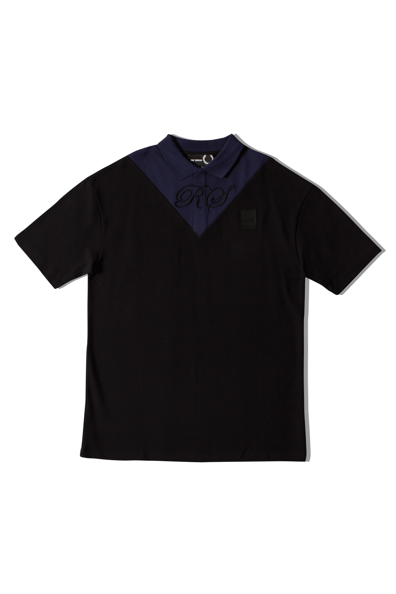 Oversized V-Insert Pique Polo Shirt Nero