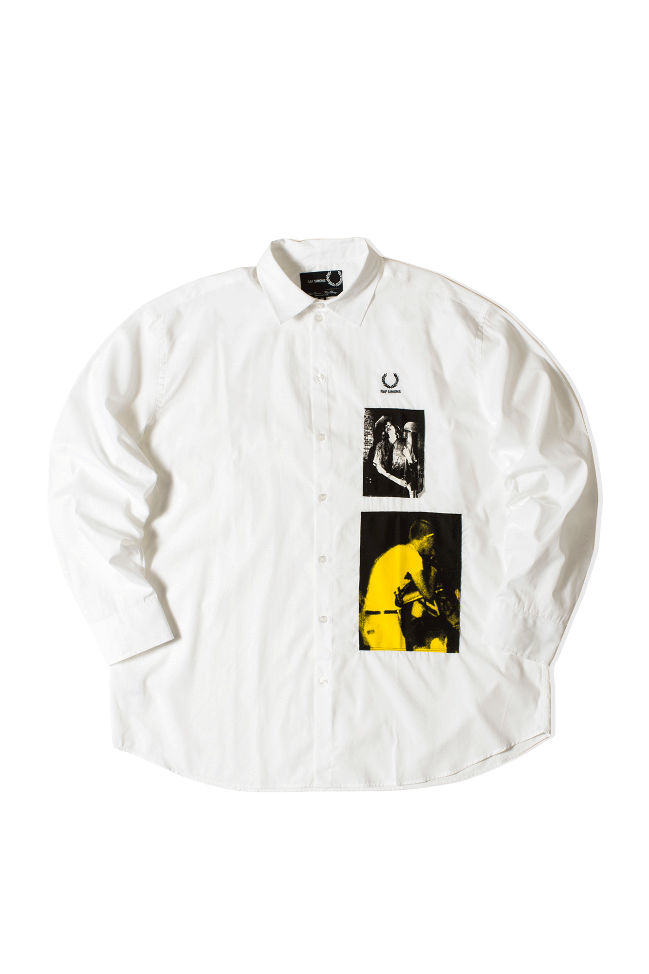 Raf Simons Patched Oversized Shirt Bianco