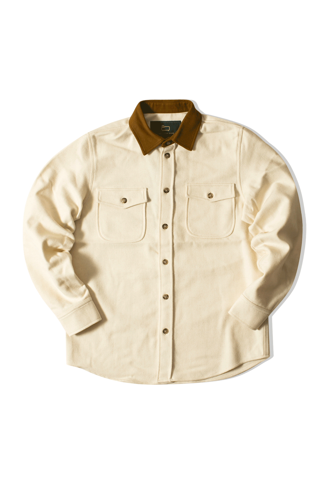 Botton Up W/ Suede Collar Bianco