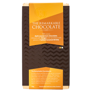 70% Dark Chocolate, Ginger and Salted Caramel | Remarkable Chocolate NZ