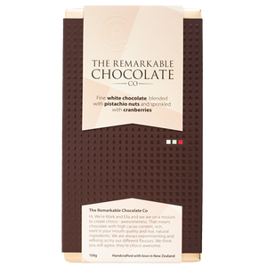 Fine White Chocolate | Pistachio & Cranberry | Remarkable Chocolate NZ