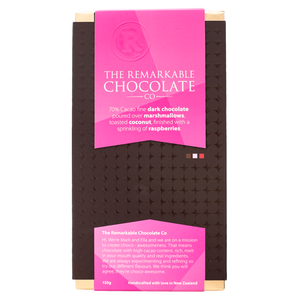 70% Dark Chocolate | Marshmallow, Coconut & Raspberry | Remarkable Chocolate NZ