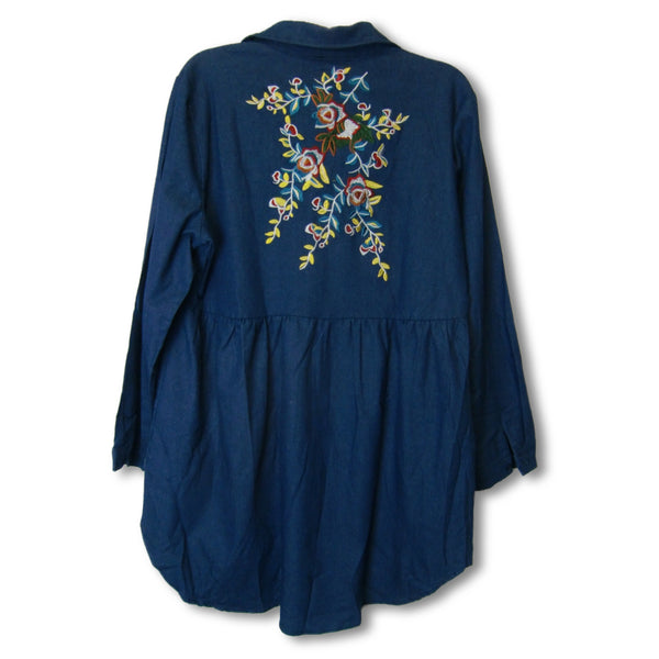 new Angela Plus ladies embroidered denim top